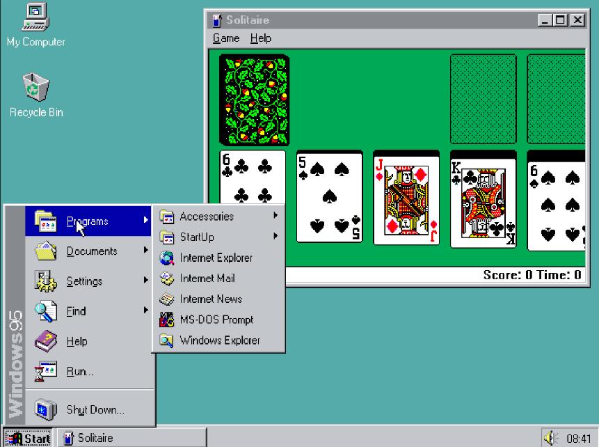 Microsoft于1995年8月24日发布 Windows 95,在四天内售出了超过一百万份