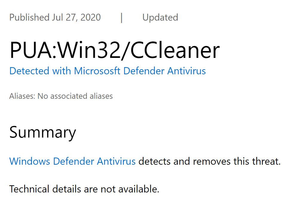 """CCleaner被Windows Defender标记为""""可能不需要应用"""""""