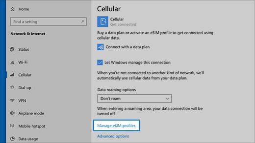 在 Windows 10 电脑上使用 eSIM 获取手机数据连接