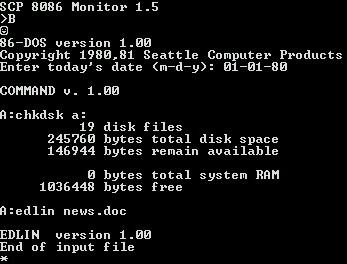 微软在1981年7月27日从SCP那里获得了86-DOS操作系统的版权